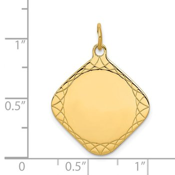 14k Patterned .018 Gauge Diamond-Shaped Engravable Disc Charm