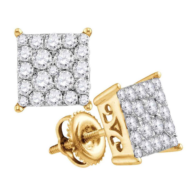Kingdom Treasures 10kt Yellow Gold Womens Round Diamond Square Cluster Stud Earrings 1.00 Cttw