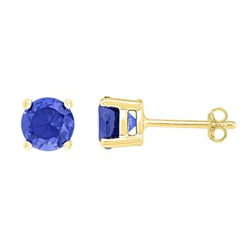 10kt Yellow Gold Womens Round Lab-Created Blue Sapphire Stud Earrings 2.00 Cttw