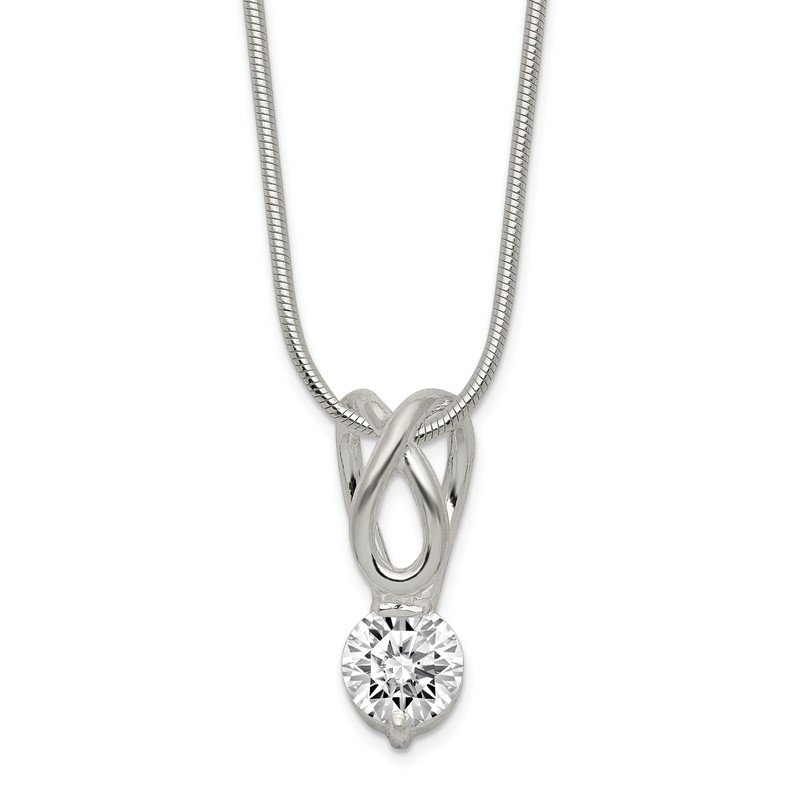 Quality Gold Sterling Silver CZ Pendant & Chain