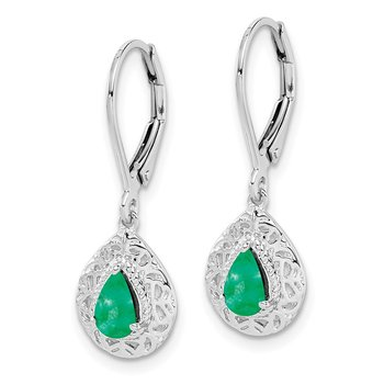 Sterling Silver Rhodium-plated Emerald Teardrop Lever Back Earrings