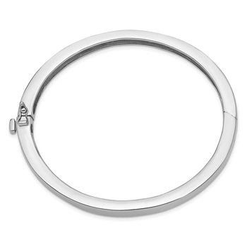 14k White Gold 6.3mm Polished Solid Hinged Bangle Bracelet
