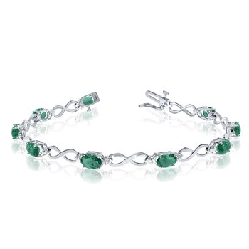 14K White Gold Oval Emerald and Diamond Bracelet