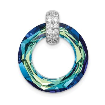 Sterling Silver Rhodium-plated Clear/Blue Crystal Circle Pendant