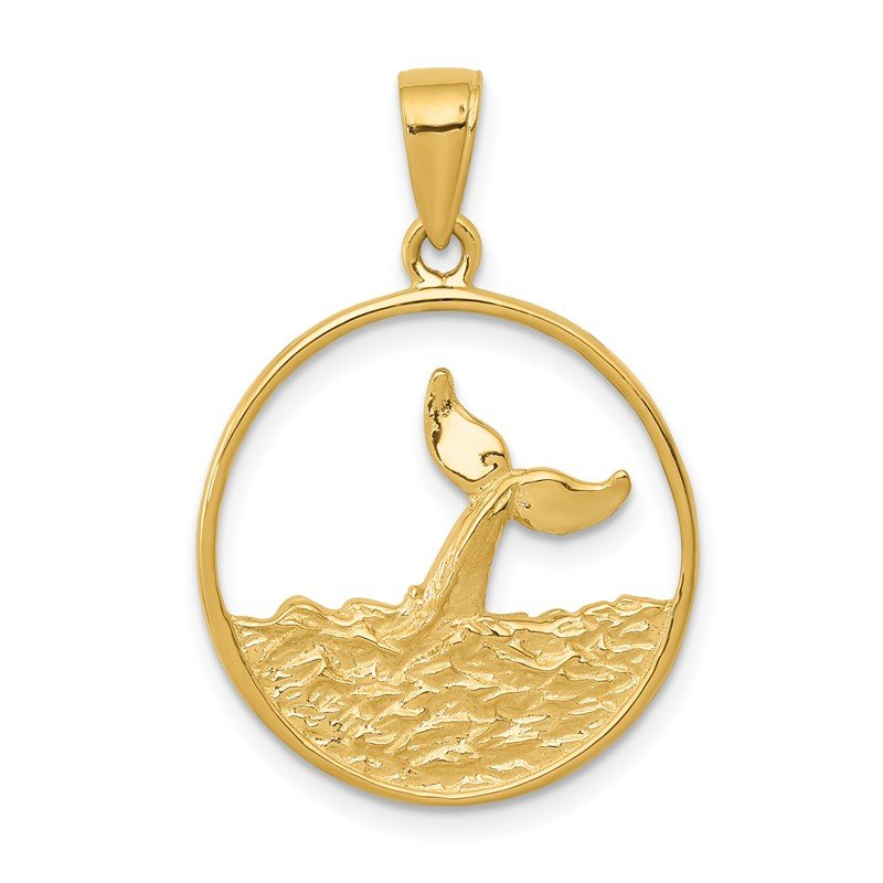 Quality Gold 14k Whale Tail in Circle with Waves Pendant