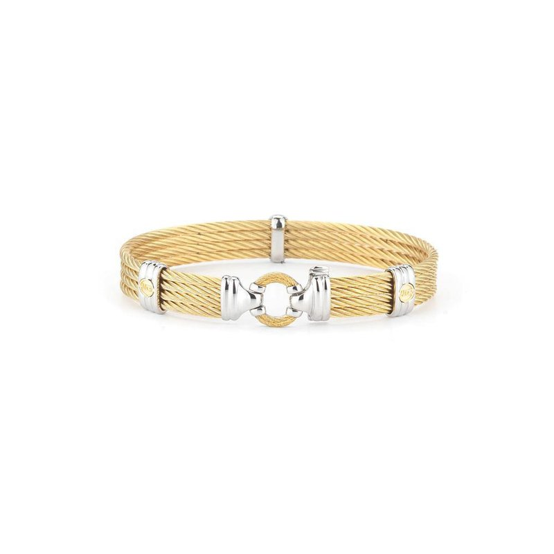 ALOR Yellow Cable Bracelet with Round Steel Station & 18kt Yellow Gold