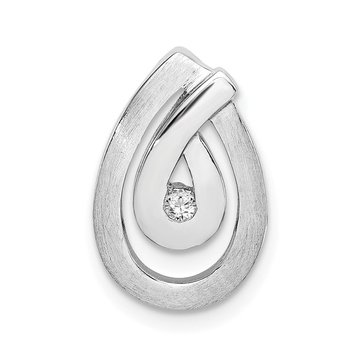 Sterling Silver Rhodium-plated Polished and Brushed CZ Teardrop Chain Slide