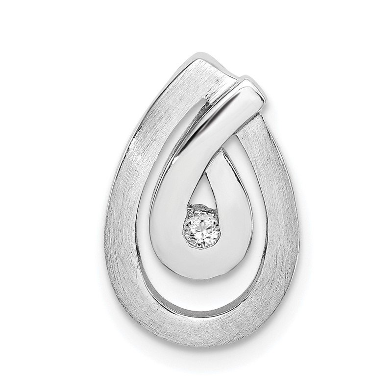 Quality Gold Sterling Silver Rhodium-plated Polished and Brushed CZ Teardrop Chain Slide