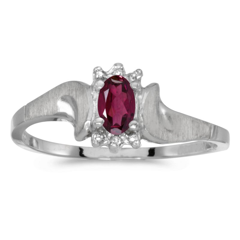 Color Merchants 14k White Gold Oval Rhodolite Garnet And Diamond Satin Finish Ring