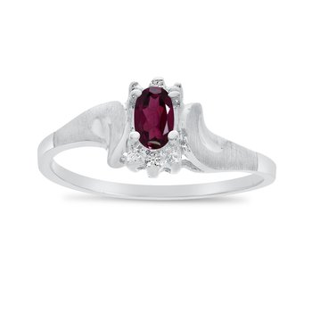14k White Gold Oval Rhodolite Garnet And Diamond Satin Finish Ring