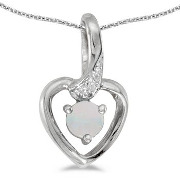 10k White Gold Round Opal And Diamond Heart Pendant