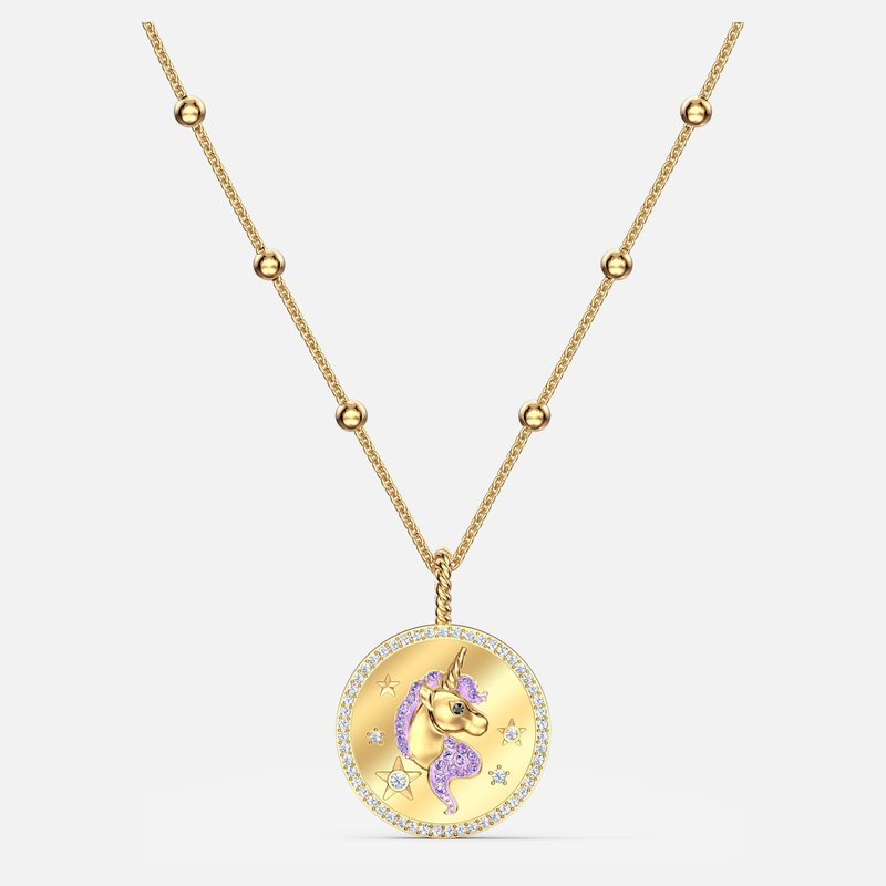 Swarovski Out of this World Unicorn Necklace, Medium, Purple, Gold-tone plated
