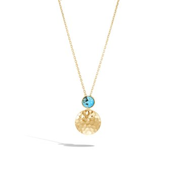 Dot Pendant Necklace in Hammered 18K Gold with Gemstone