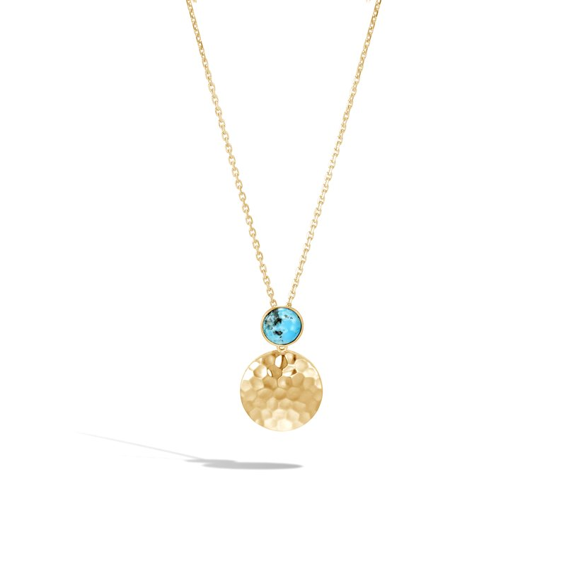 JOHN HARDY Dot Pendant Necklace in Hammered 18K Gold with Gemstone