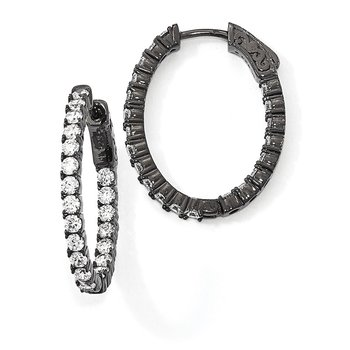 Sterling Silver Black-plated In & Out CZ Oval Hoop Earrings