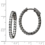 Quality Gold Sterling Silver Black-plated In & Out CZ Oval Hoop Earrings