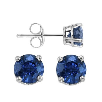 Four Prong Sapphire Studs in 14K White Gold (5 MM)