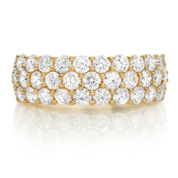 Triple Layer Yellow Gold & Diamond Ring