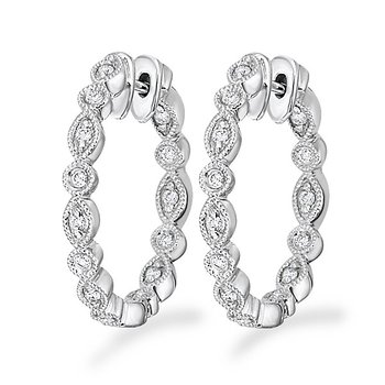 Diamond Inside Outside Hoop Earrings in 14k White Gold with 28 Diamonds weighing .20ct tw.