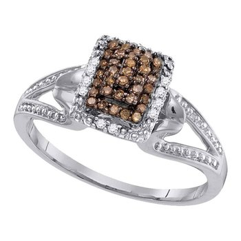 10kt White Gold Womens Round Cognac-brown Color Enhanced Diamond Cluster Ring 1/6 Cttw