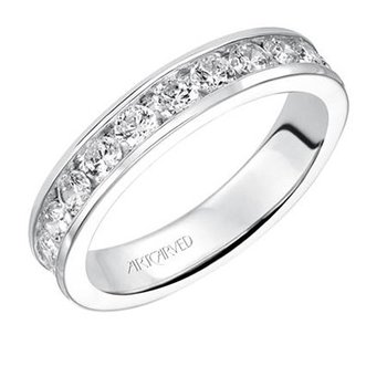 14K White Gold Channel Eternity Wedding Band