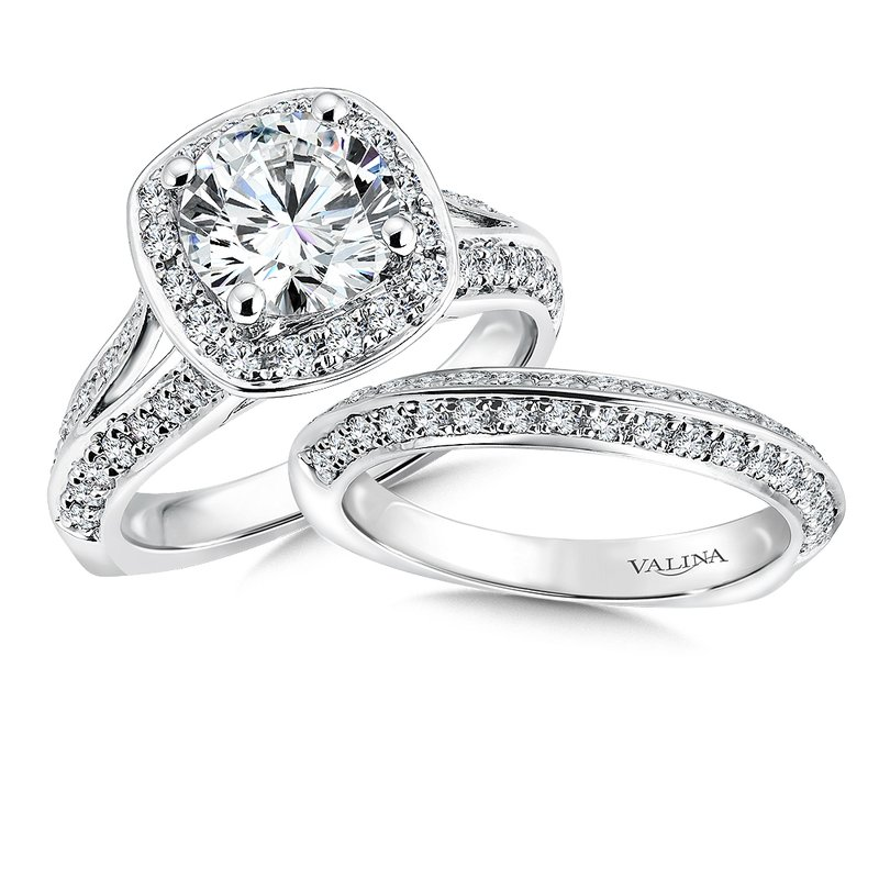 Valina Cushion shape halo mounting .57 ct. tw., 2 ct. round center.