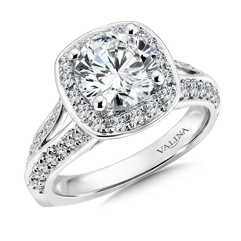 Valina Bridals Cushion shape halo mounting .57 ct. tw., 2 ct. round center.