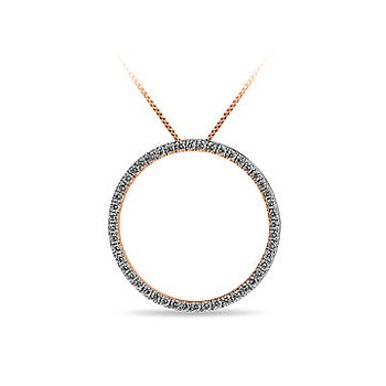 10K RG and diamond Circle pendant in prong setting