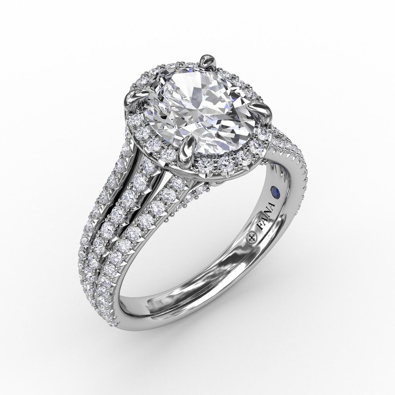 Fana Oval Diamond Halo Engagement Ring With Triple-Row Diamond Band