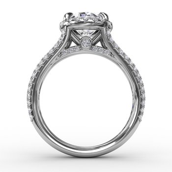 Oval Diamond Halo Engagement Ring With Triple-Row Diamond Band