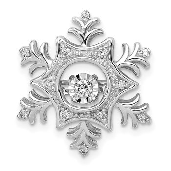 14k White Gold 1/6ct. Vibrant Moving Diamond Snowflake Chain Slide