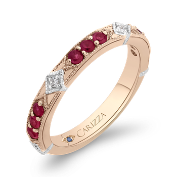 18K Two-Tone Gold Round Diamond and Ruby Wedding Band