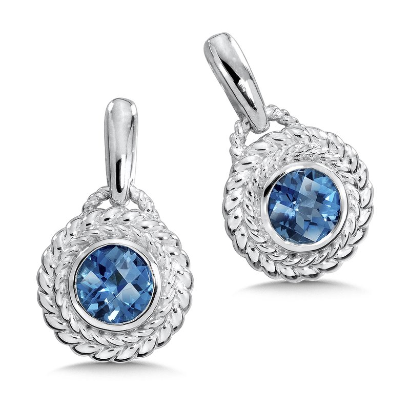 Colore Sg Sterling Silver London Blue Topaz Post Earrings