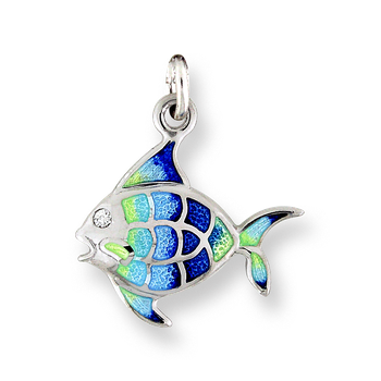Sterling Silver Angel Fish Charm-Blue.  Diamonds.