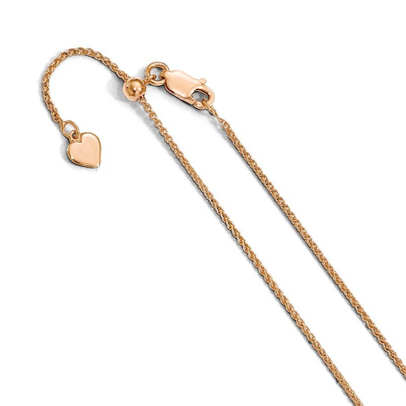 Leslie's Leslie's Sterling Silver 1.2 mm Rose Gold-plated Adjustable Wheat Chain