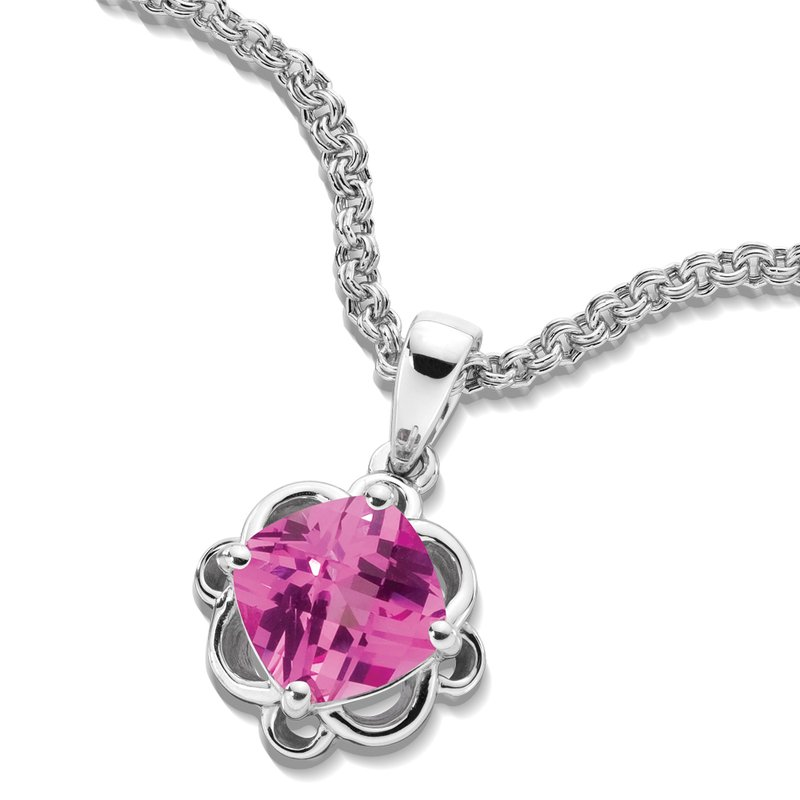 Colore SG Sterling Silver Created Pink Sapphire Pendant