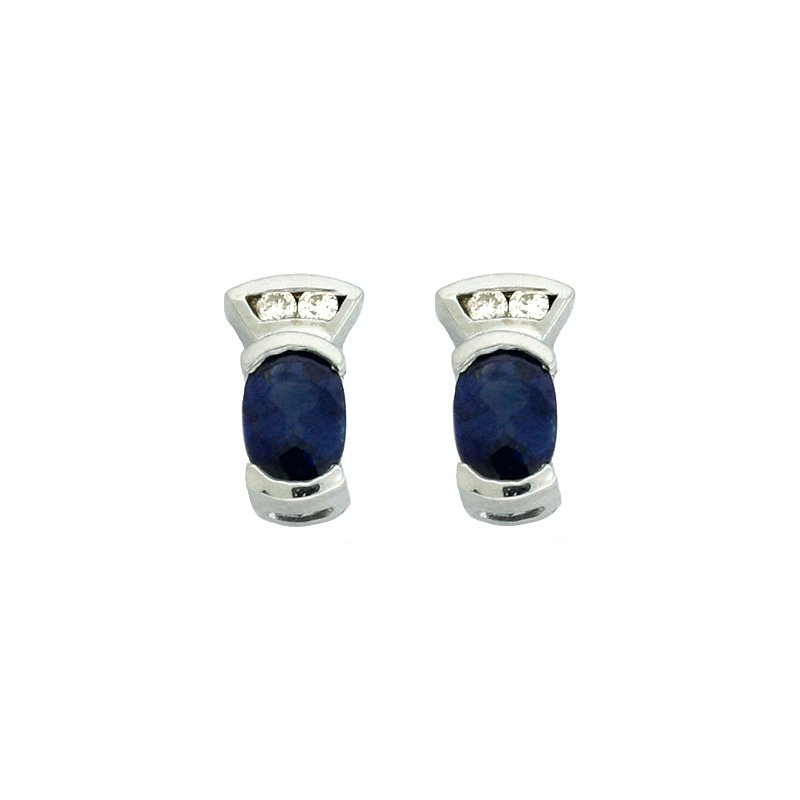 S. Kashi  & Sons Sapphire & Dia White Gold Earring