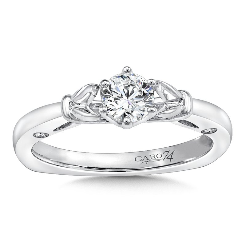Caro74 6-Prong Center Solitaire Engagement Ring in 14K White Gold (1/3ct. tw.)