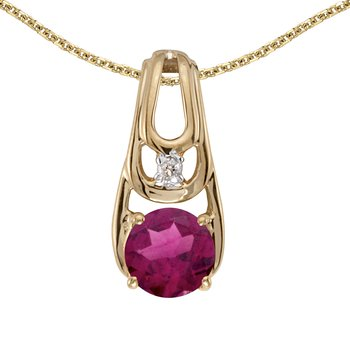 14k Yellow Gold Round Rhodolite Garnet And Diamond Pendant