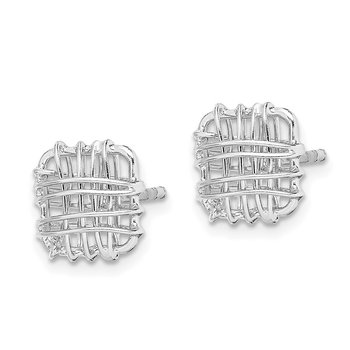 Sterling Silver Rhodium-plated Polished Square Post Earrings