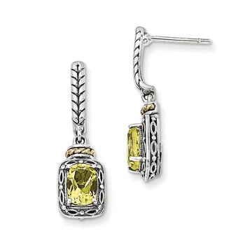 Sterling Silver w/14k Antiqued Lemon Quartz Post Dangle Earrings