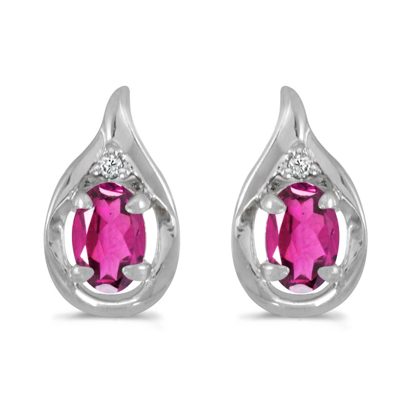 Color Merchants 10k White Gold Oval Pink Topaz And Diamond Earrings