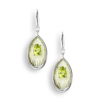 Green Teardrop Wire Earrings.Sterling Silver-Peridot