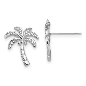 14k White Gold Palm Tree Post Earrings