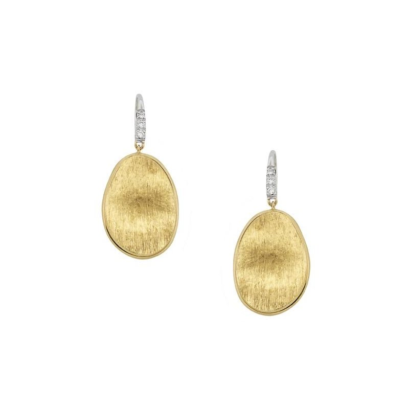 Marco Bicego Lunaria Gold & Diamond Pave Small Drop Earrings