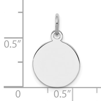 Sterling Silver Rh-plt Engraveable Round Polished Front/Back Disc Charm