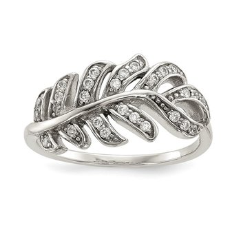 Sterling Silver CZ Leaf Ring