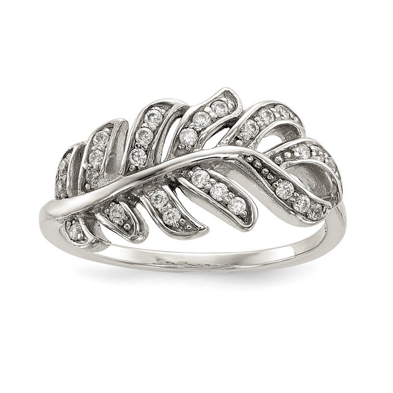 Quality Gold Sterling Silver CZ Leaf Ring