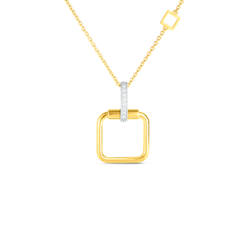 18K Small Square Pendant W. Dia Accent On Chain