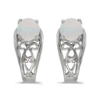 10k White Gold Round Opal And Diamond Earrings